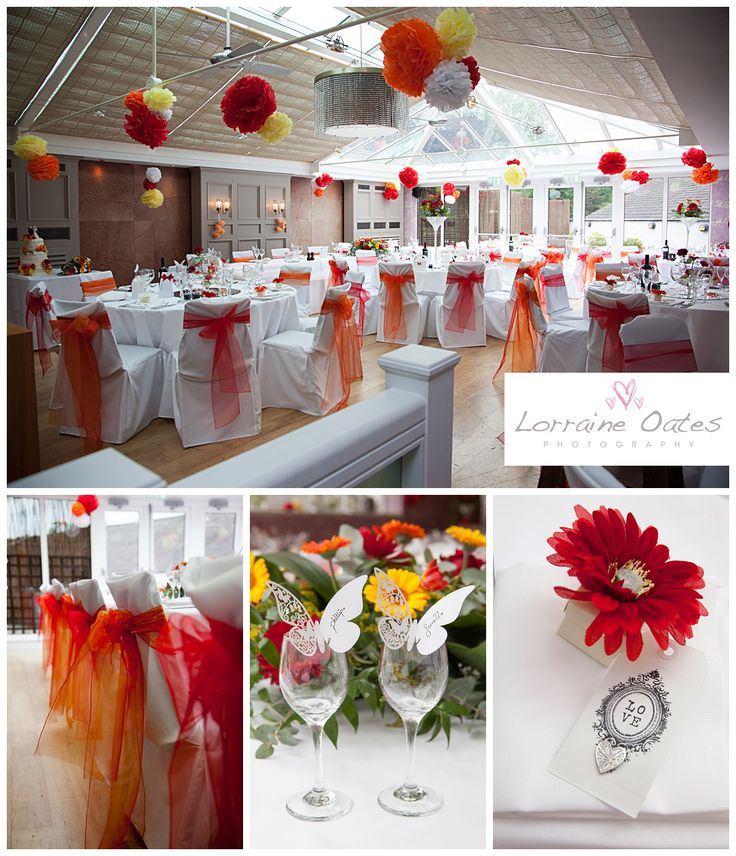 Zingy orange and red themed #wedding #decorations in the conservatory at The Swan Hotel & Spa in Newby Bridge, Cumbria  #Photography by Lorraine Oates