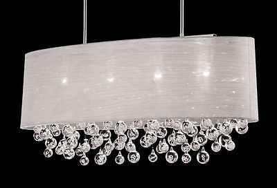 New 4 Lamp Chandelier Oval Drum Shade Crystal Chandelier Ceiling Light Dia 36""