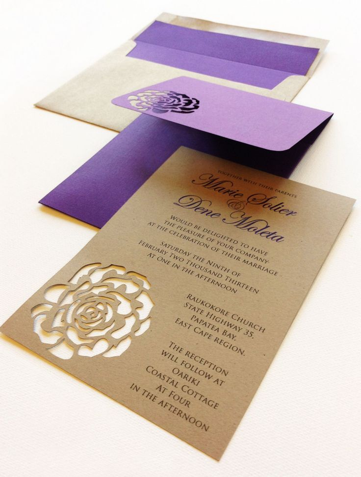 Purple And Kraft Rose Themed Wedding Invites Wedding Oooo This Except With A Butterfly