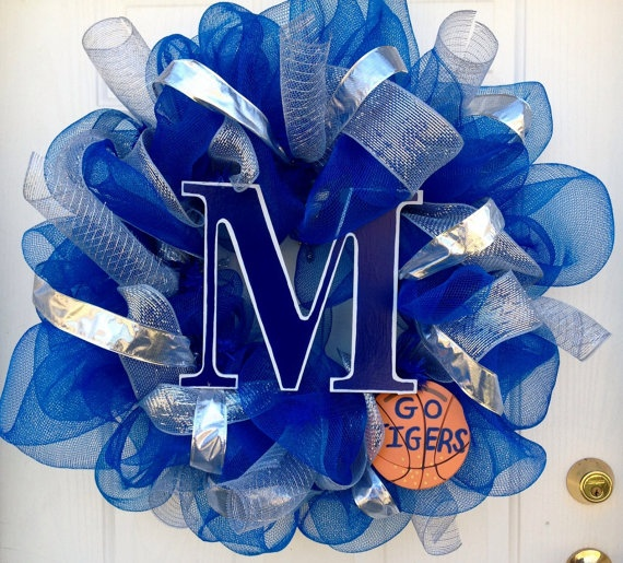University of Memphis mesh wreath by CustomCreated on Etsy, $70.00