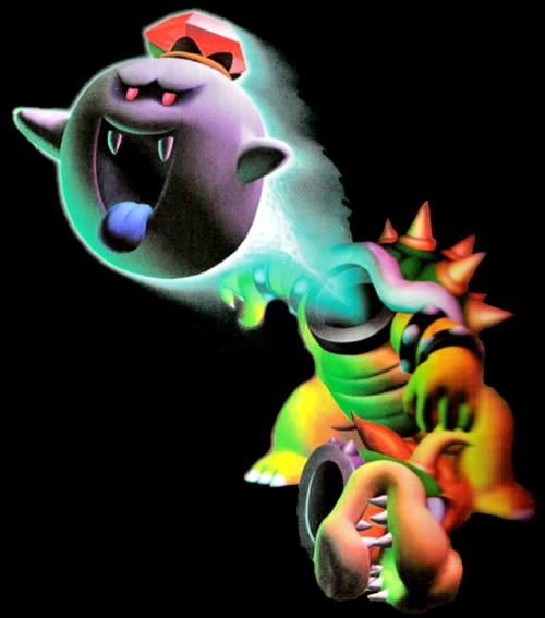 The Luigi's Mansion artwork of King Boo escaping from Bowsers body.
