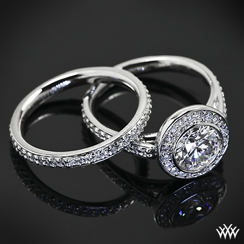 """Exquisitely crafted, the """"Halo Bezel"""" Diamond Wedding Set is an eternally classic duo."""