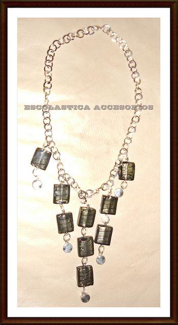 Collar Cuadrados de Vidrio by Escolastica Tejidos y Bisuteria, via Flickr