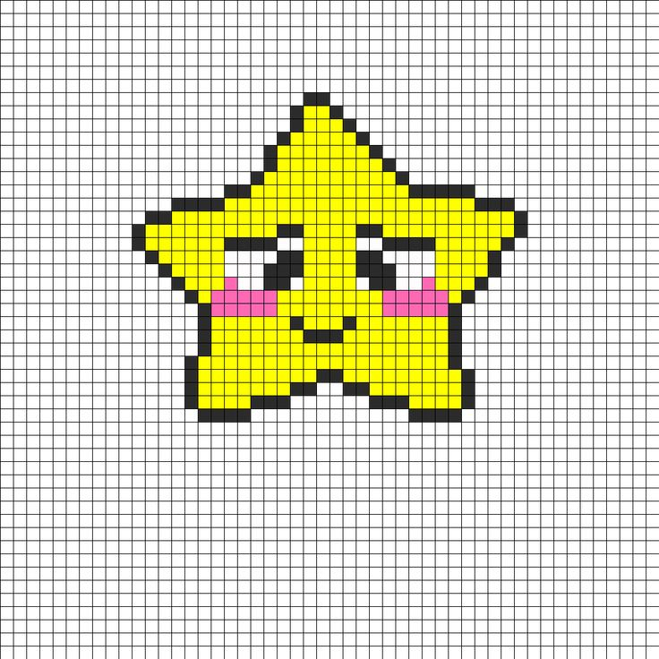 Bashful Star Perler Bead Pattern