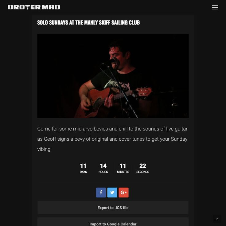 Drover Mad website components: Detailed gig reviews. Brought to you by myband.website
