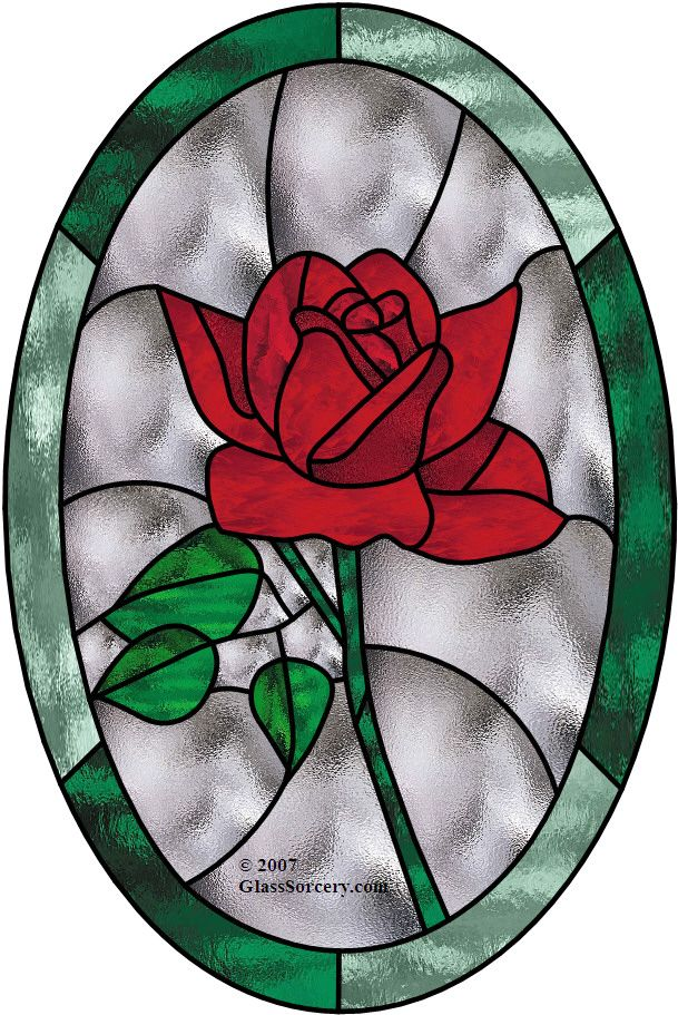 Red Rose in Oval.Looks best with a variety of textures and shades of glass of the same hue. Details of glass used in example are found on website.