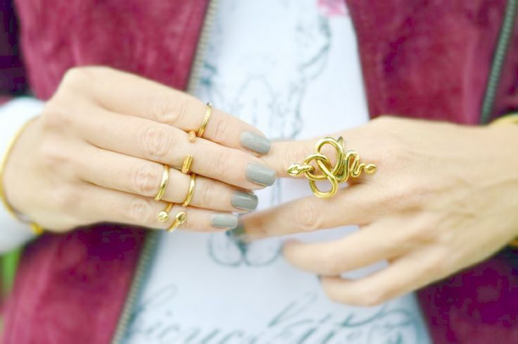 Knuckle Rings and Snake Ring - Bronzo e oro