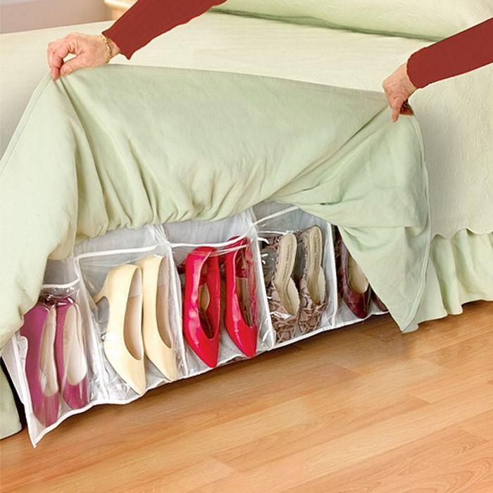 Органайзер для обуви под кроватью.
