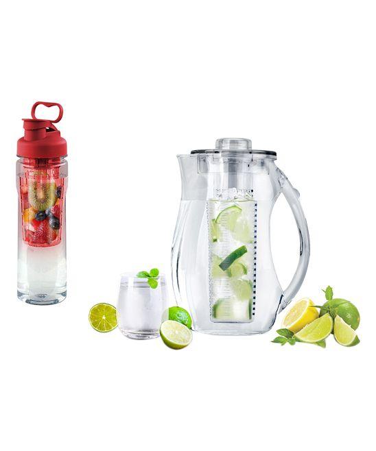 Red Fruit-Infuser 28-Oz. Water Bottle & 2.5-L Pitcher