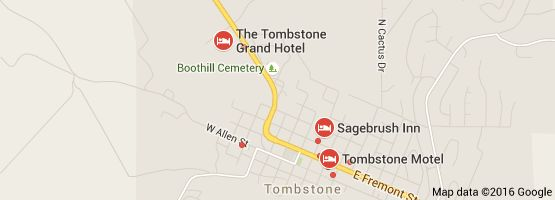 Map of hotels near tombstone az