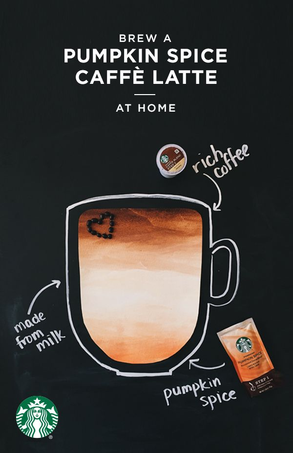 Pumpkin Spice Caffe Latte K-Cup pods are made with everything nice: a blend of real milk, natural ingredients and Starbucks coffee to create a delicious latte in minutes. Simply pour the Pumpkin Spice flavor packet into your favorite mug and place on drip tray. Using the 8oz. Setting, brew the Caffe Blend pod into the mug and stir. Boom—PSL serenity.