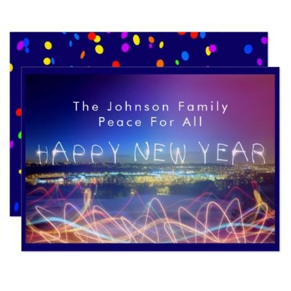 Happy New Year Over City Lights & Confetti Card - new years eve happy new year holiday diy party