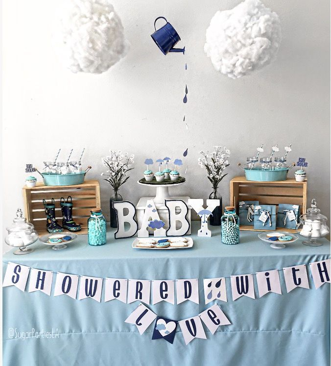 April showers baby shower,showered with love, spring baby shower, boy baby shower, April showers bring May flowers, April baby shower, shower baby shower, spring baby shower ideas, boy baby shower, it's a boy, clouds, rain, baby shower decorations, spring, spring showers