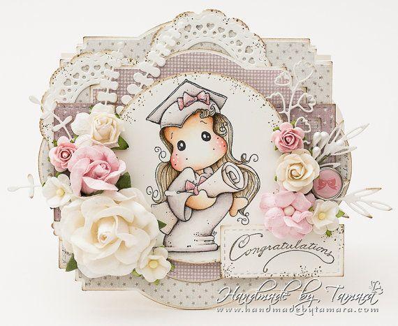 OOAK Magnolia Tilda graduation card by TamarasHandmadeCards