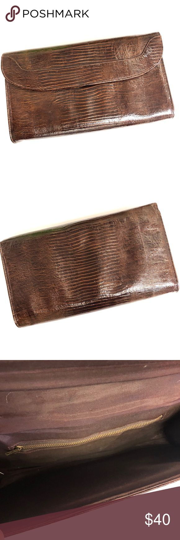 """Vintage  Snake Skin Clutch Beautiful dark brown clutch with button closure and inside pocket. 12"""" x 7.5"""" x 1.5"""" Bags Clutches & Wristlets"""