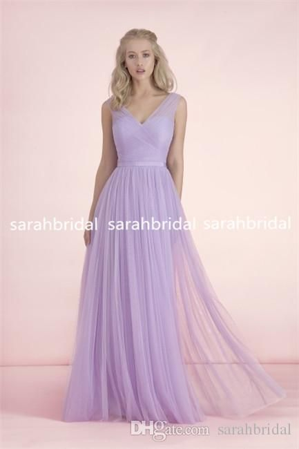 2015 Long Light Purple Bridesmaid Dresses V-Neck Bow Knot Sash Bridal Party Gowns For Maid of Honor Plus Size Personalized Cheap Under 100