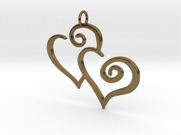 2-Heart #Charm #Pendant 3d printed #polished #bronze