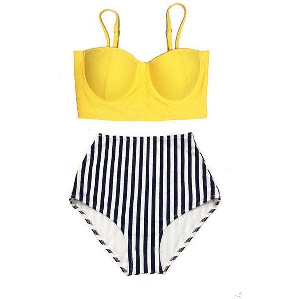 Yellow Midkini Top and Stripe High Waisted Waist Cut Rise Bottom... ($40) ❤ liked on Polyvore featuring swimwear, bikinis, bathing suit, bikini, swimsuit, high-waisted bathing suits, high rise bikini, yellow bikini, stripe bikini and high waist bikini swimsuit