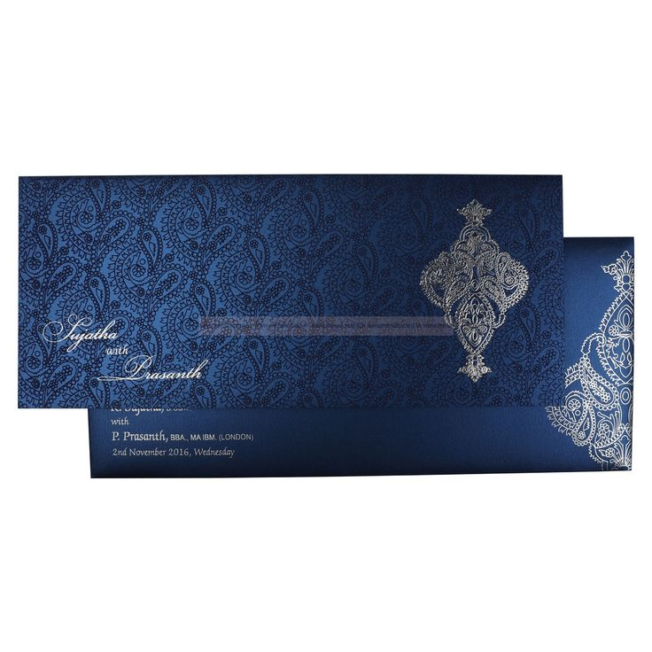 Royal Blue self printed with Silver Motif