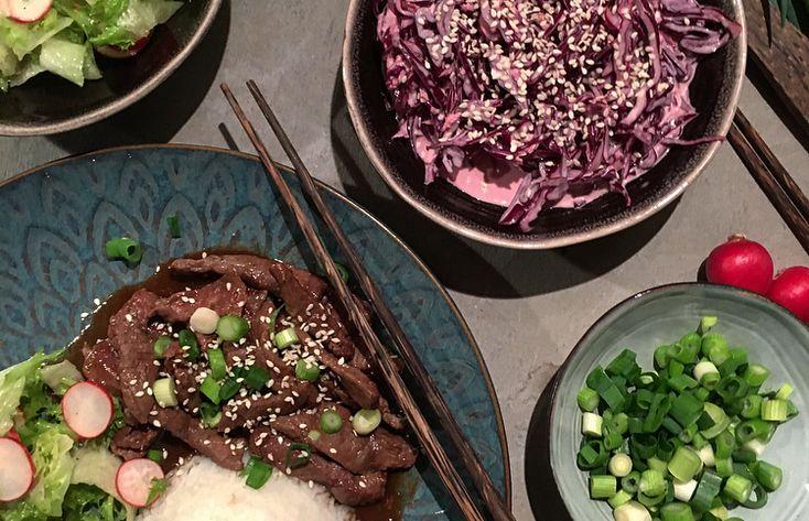 Yakinuki med Asiatisk coleslaw