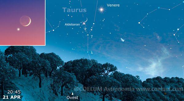 Domani sera, 21 aprile, la più bella congiunzione Luna Aldebaran della stagione. Al link dettagli e effemeridi!  Aspettiamo le vostre foto su gallery@coelum.com e Photocoelum!  Al link