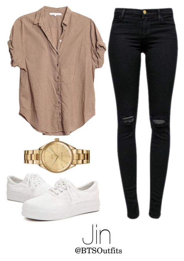 """Fire MV: Jin"" by btsoutfits ❤ liked on Polyvore featuring Xirena, J Brand and Lacoste"