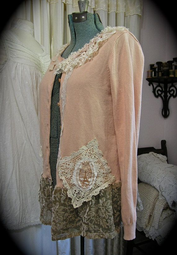 Shabby Vintage Sweater altered upcycled clothing by GrandmaDede