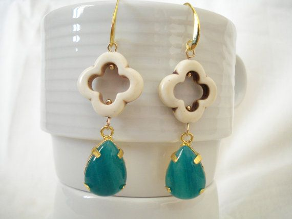 White clover earrings Quatrefoil gemstone drops Moroccan by Poppyg