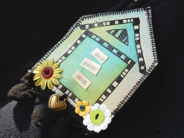 stamping on canvas - brooch
