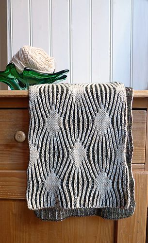 I first saw this stitch pattern when Lisa Whiting designed a cardigan for Vogue Knitting Magazine, Winter 2010/2011, called Two-Color Rib Cardi. I thought this stitch should have been worked in brioche, not stranded.