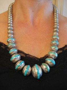 Navajo Turquoise Inlay Stamped Sterling Bead Necklace