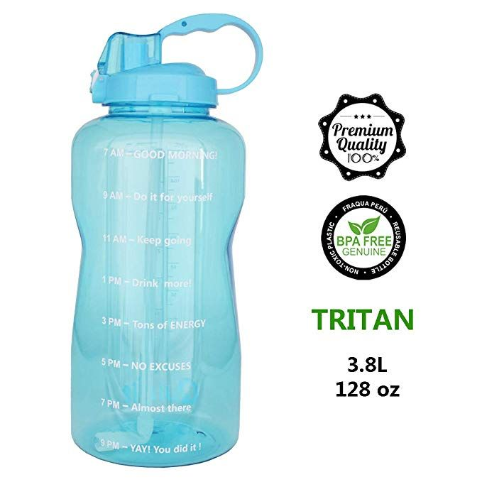Quifit Portable Drinking Straw Daily Water Bottle Sport Water Jug Gallon Bpa Free Non Leak Design With Time Marked To En Sport Water Bottle Water Bottle Bottle
