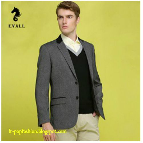 Men Black Slim Wool Blazer Casual