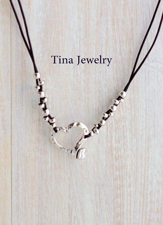 Leather necklace handmade from Spain This necklace is made of genuine leather and silver plated beads. All silver pieces are subjected to an anti-allergic process ( nickel and lead free) with a silver plating of 8 microns of sterling silver. MADE TO ORDER ! I make this to be 16 40cm