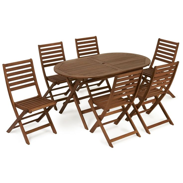 6 seater round wooden garden table and chairs