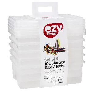Ezy Storage 10L Storage Containers 5 Pack –  390W x 280D x 140H mm – $20