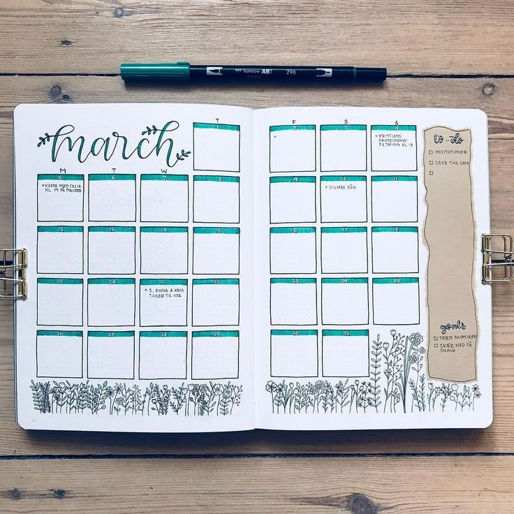 Bullet Journal – 10 Great Monthly Spreads – #Bulle…