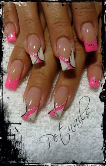 Pink White And Black Nails – Amazing Design