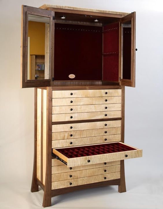 Wow!! I could never afford this, but one can dream. Custom Made Walnut And Curly Maple Jewelry Cabinet