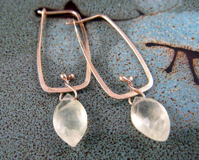 Rectangular 14k Gold and Prehnite Hoop Earrings by Bloom Studios, via Flickr