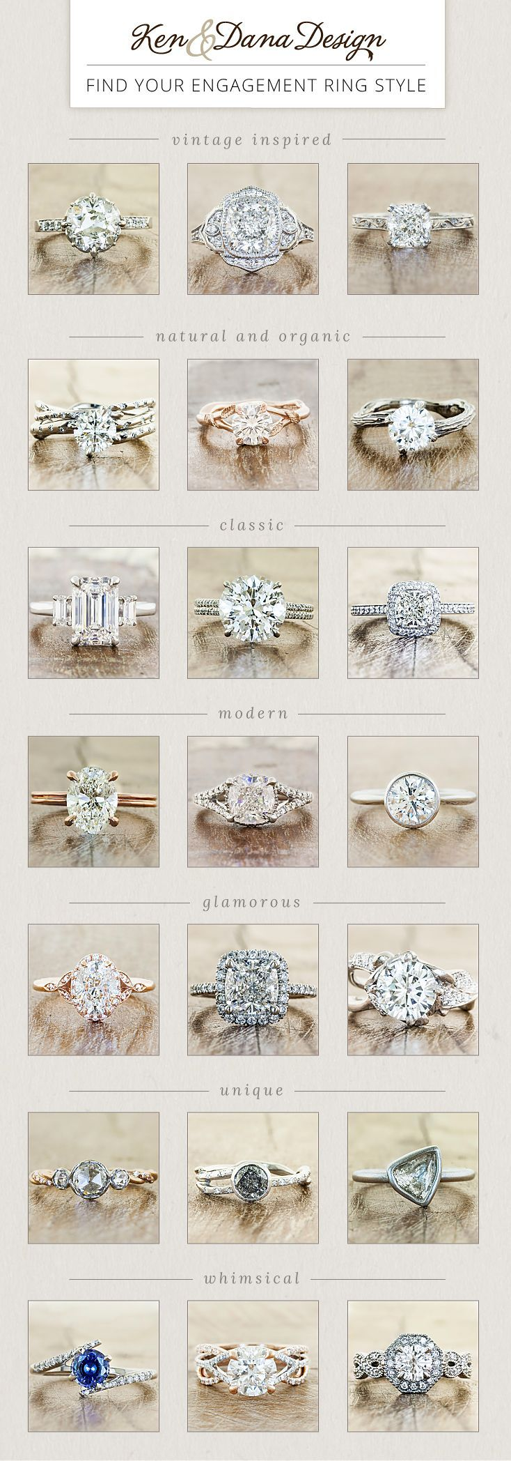 Find your engagement ring style - whether nature inspired, vintage, modern & more. by Ken & Dana Design.   Natural & organic/unique