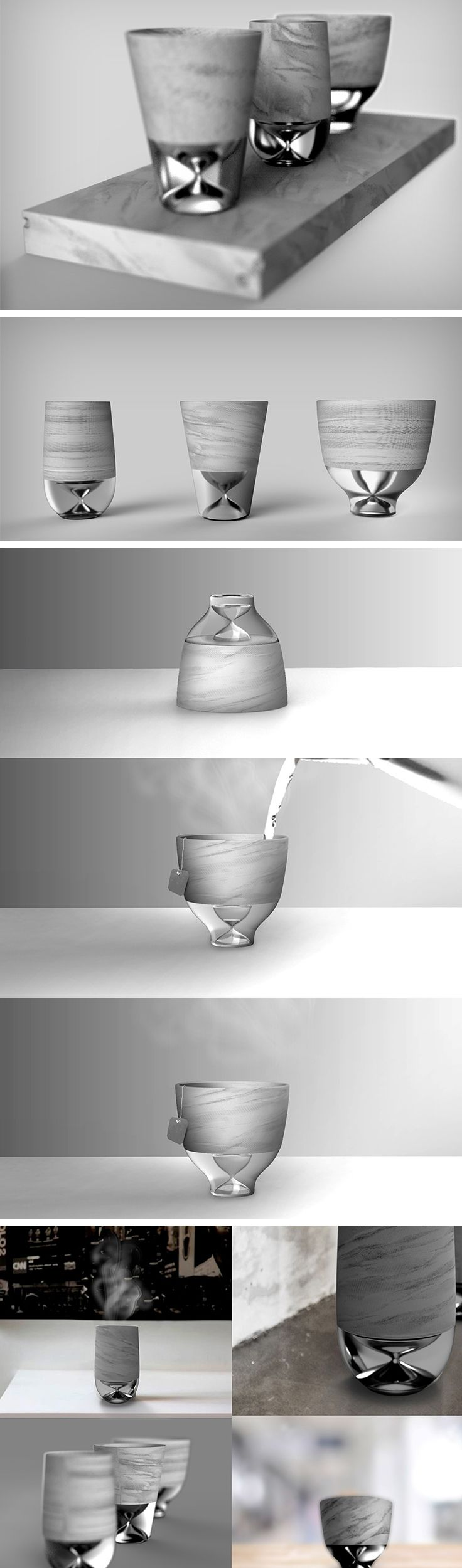 Merging teacup and hourglass, Yeonsoo's contraption lets you time your brew. The tea rests in the container at the top while the hourglass at the base of the cup lets you keep time rather accurately. Once the last grain of sand travels from the upper chamber to the lower chamber, take your teabag out, knowing that your brew is just perfect!
