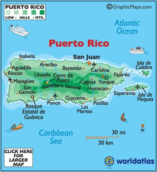 Map of Puerto Rico, Puerto Rican Map, San Juan Puerto Rico, Map of Caribbean Islands
