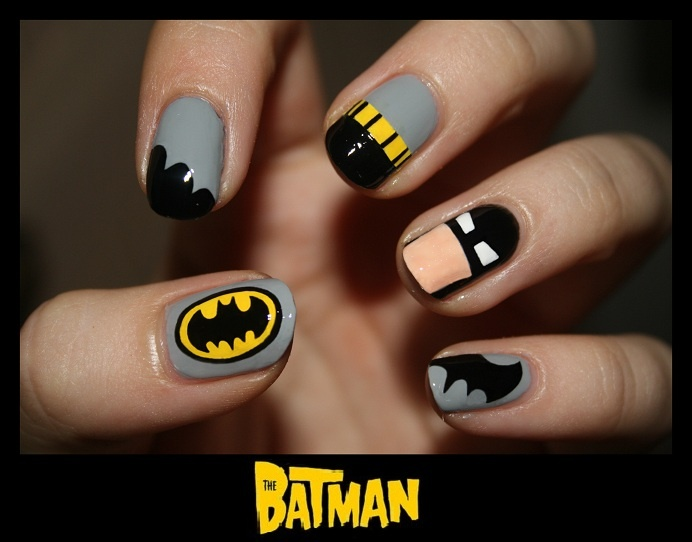 Batman nails www.nailswithlove.blogspot.com