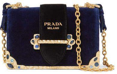 1c32654813f1  affiliatead -- Prada - Cahier Crystal-embellished Velvet Shoulder Bag -  Navy --  chic only  glamour always