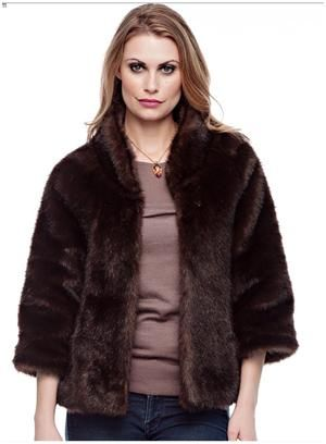 """Russian Sable Perfect Little Faux Fur Jacket. Bracelet-length sleeves and a cozy collar equal fashion perfection. In versatile Russian Sable, this 22"""" jacket goes to work, then out for the evening. For more pics go to: www.imageshack.com"""