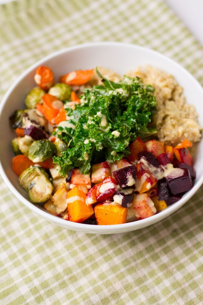 Winter Veggie Quinoa Bowls with Lemon Tahini Vinaigrette. A hearty, healthy, 100% plant-based meal anyone will enjoy!  | healthy recipe ideas /xhealthyrecipex/ |