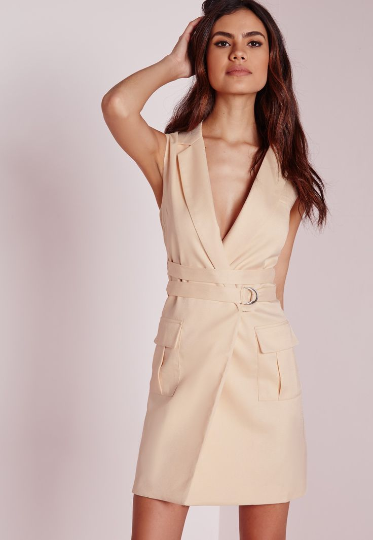 Missguided - Sleeveless Blazer Dress Nude