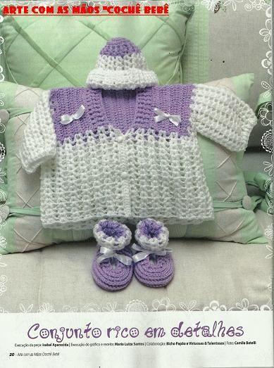 """VIRTUOSAS E TALENTOSAS"": Conjuntinho de bebê - lilás e branco"