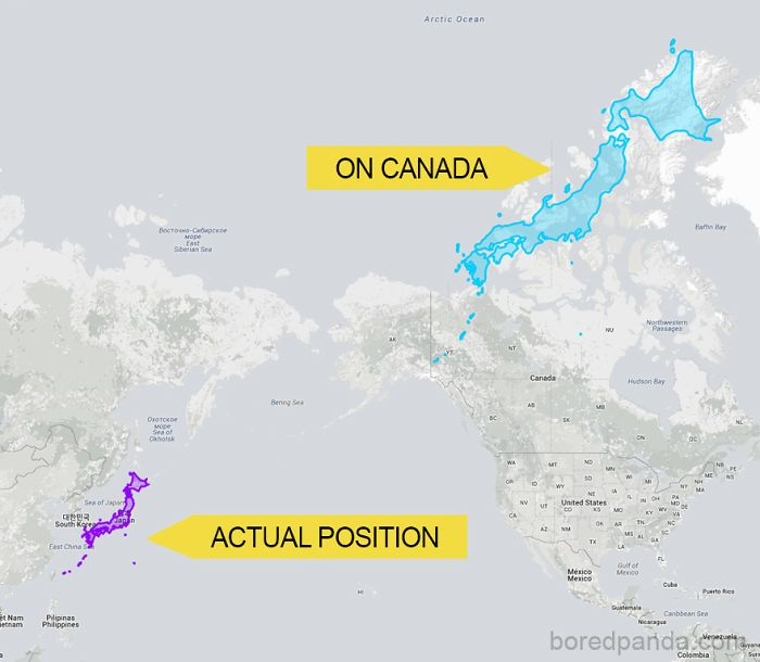 Canada Japan Map Japan Can Stretch Almost Across Canada   Japan, Map, World map